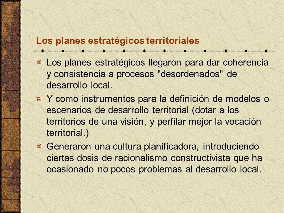 Los planes estratégicos territoriales