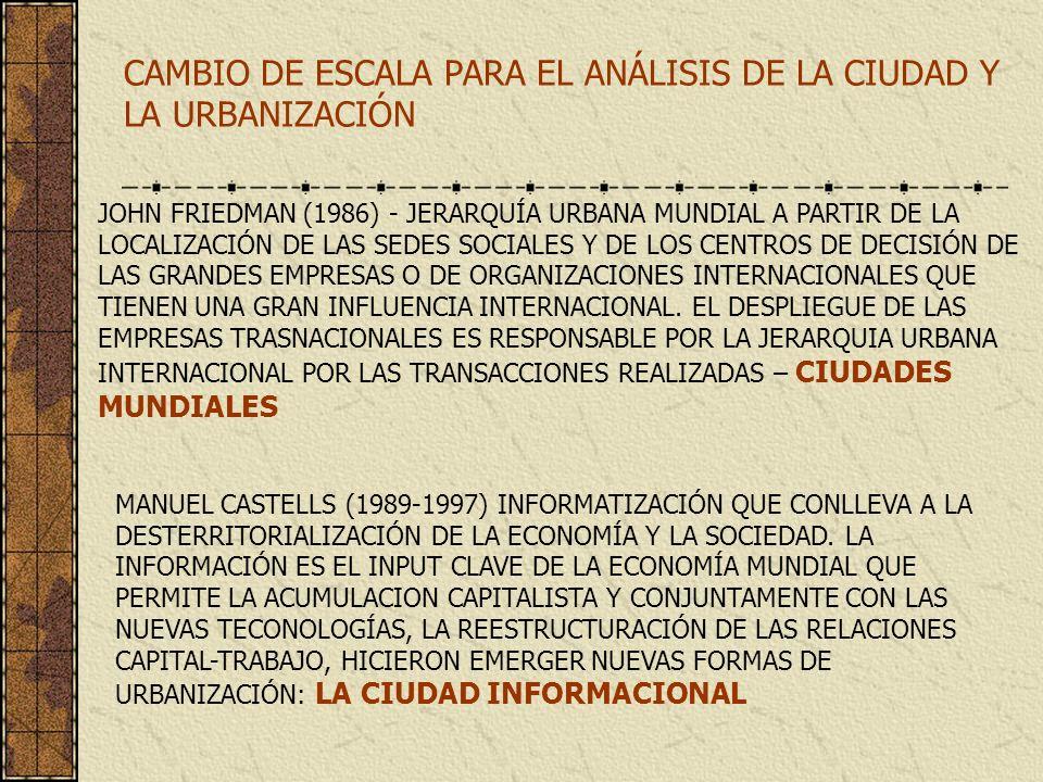 CAMBIO DE ESCALA PARA EL ANÁLISIS DE LA CIUDAD Y LA URBANIZACIÓN