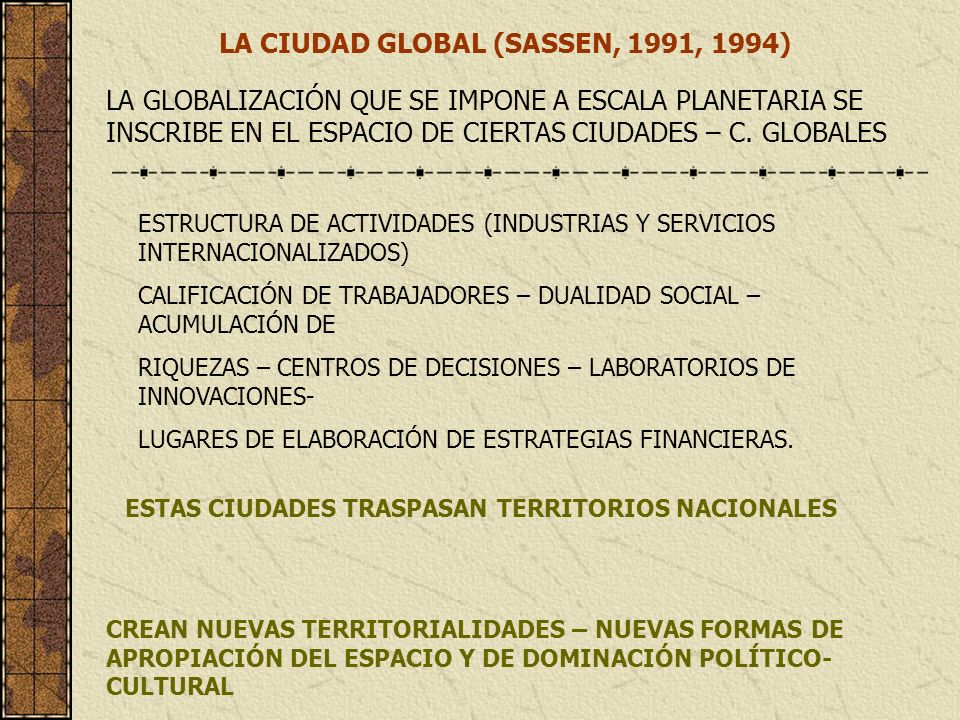LA CIUDAD GLOBAL (SASSEN, 1991, 1994)