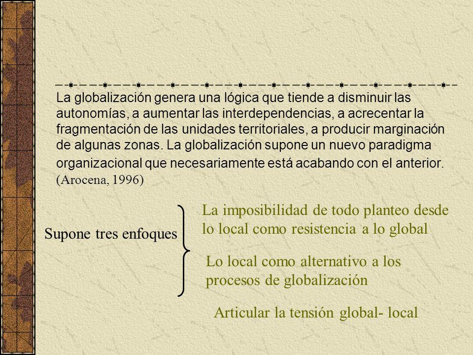 Lo local como alternativo a los procesos de globalización