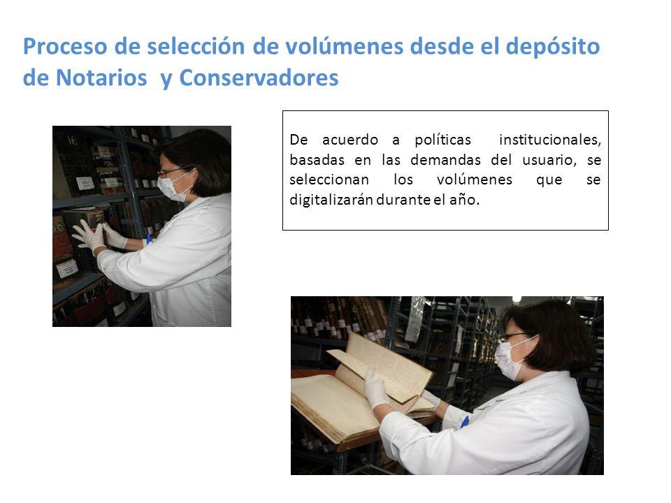 Proceso de selección de volúmenes desde el depósito de Notarios y Conservadores