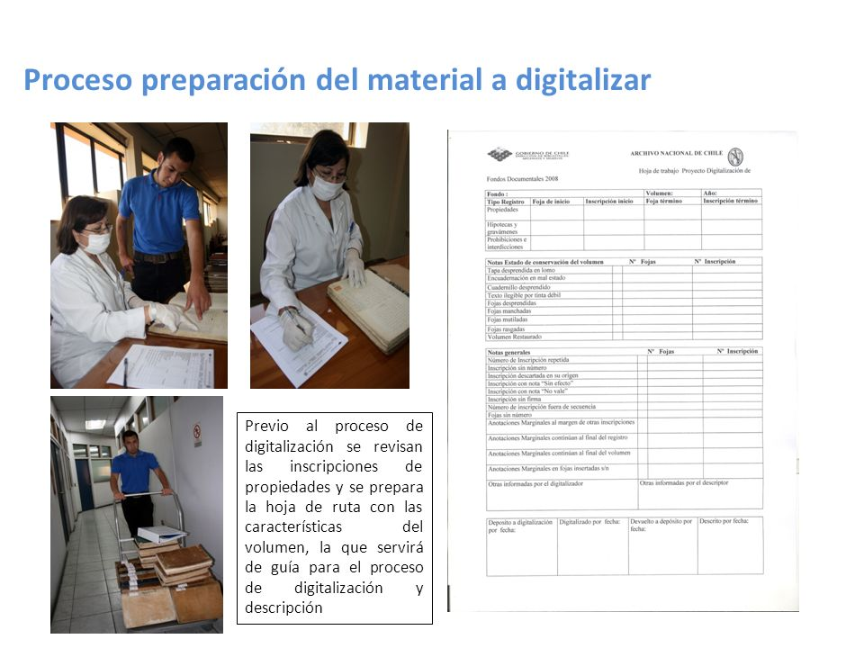 Proceso preparación del material a digitalizar