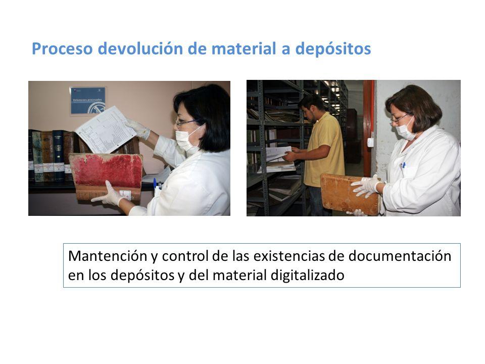 Proceso devolución de material a depósitos
