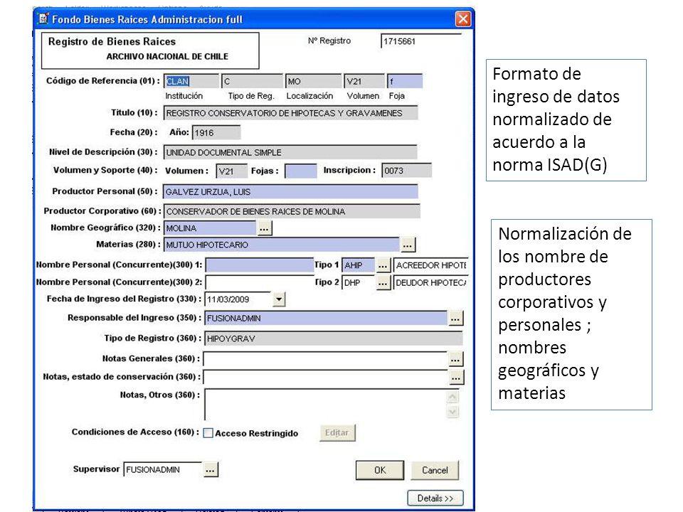Formato de ingreso de datos normalizado de acuerdo a la norma ISAD(G)