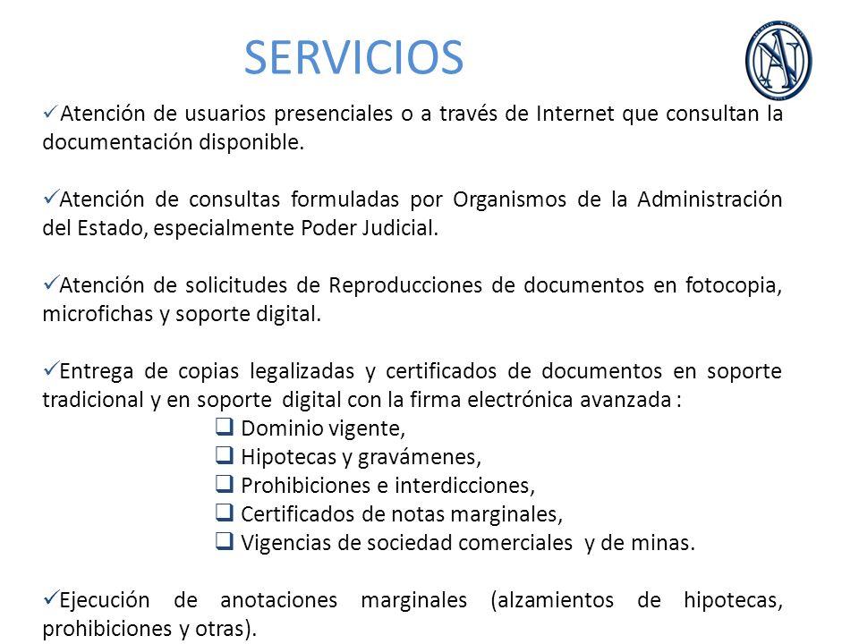 SERVICIOS Atención de usuarios presenciales o a través de Internet que consultan la documentación disponible.