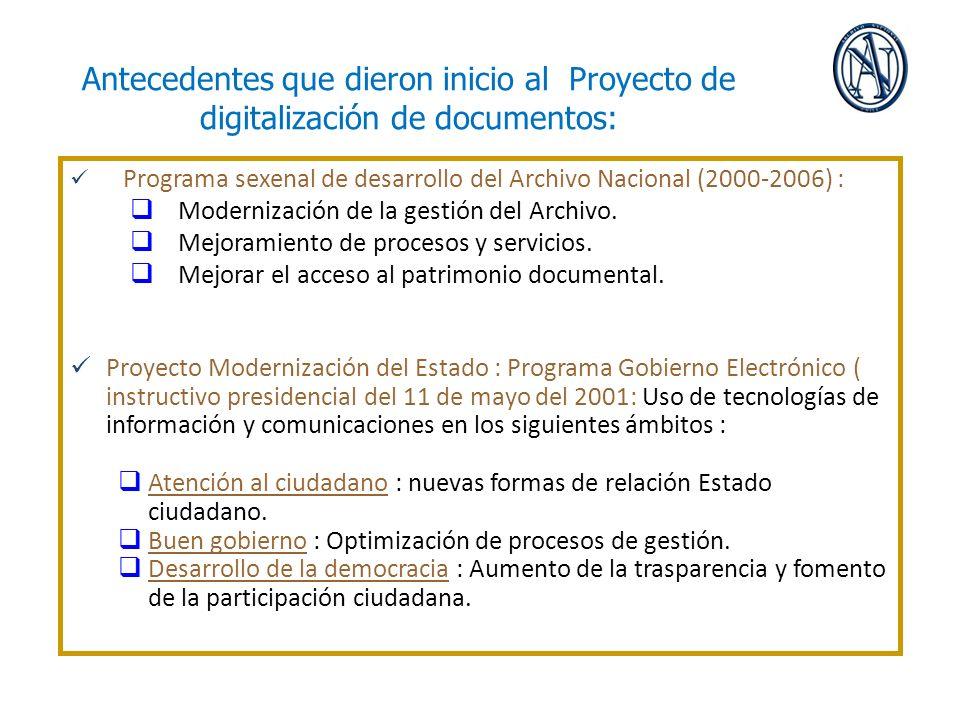Antecedentes que dieron inicio al Proyecto de digitalización de documentos: