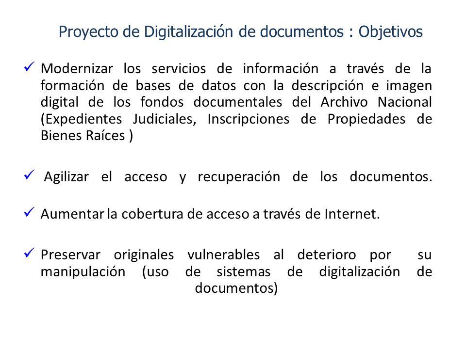 Proyecto de Digitalización de documentos : Objetivos