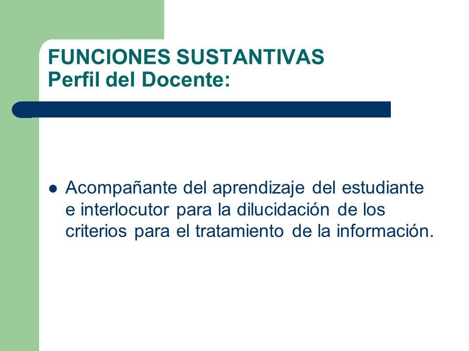 FUNCIONES SUSTANTIVAS Perfil del Docente: