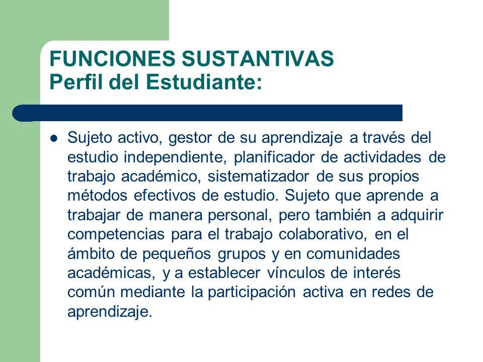 FUNCIONES SUSTANTIVAS Perfil del Estudiante: