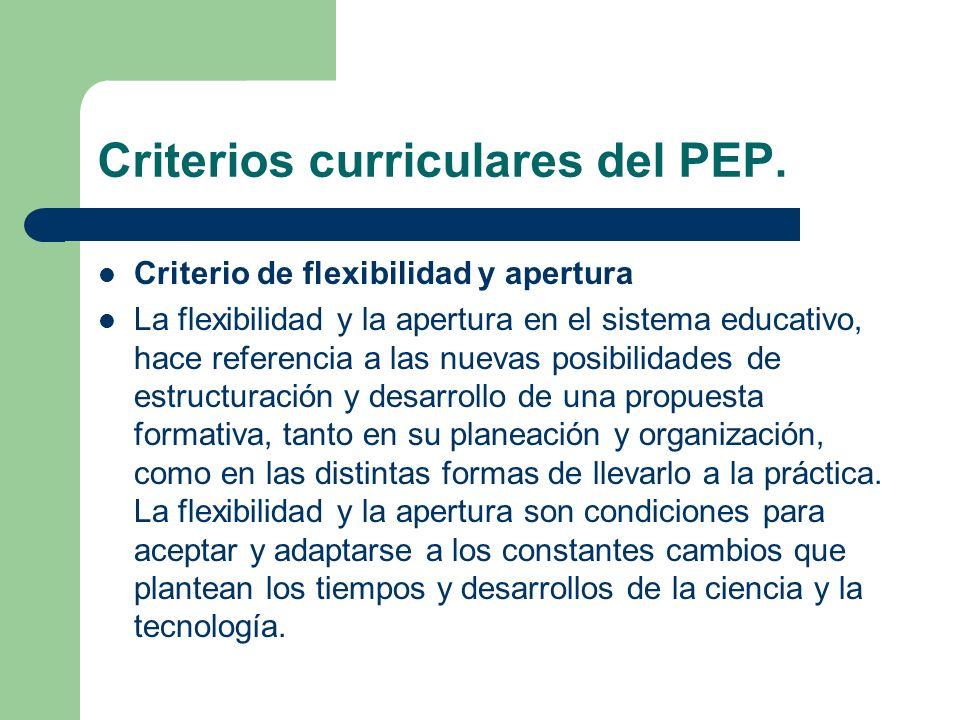 Criterios curriculares del PEP.