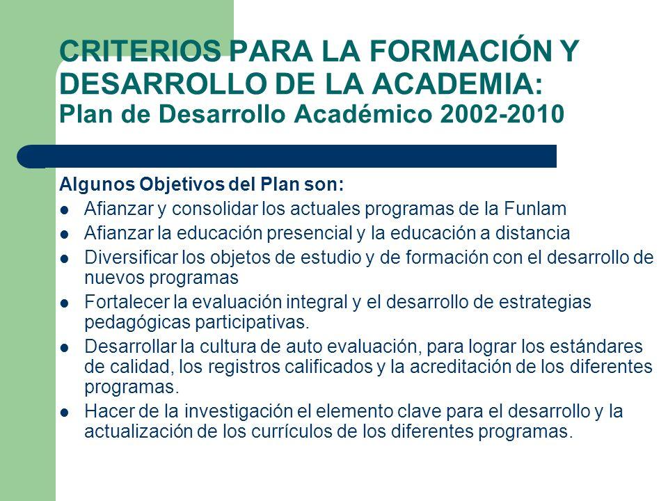 CRITERIOS PARA LA FORMACIÓN Y DESARROLLO DE LA ACADEMIA: Plan de Desarrollo Académico 2002-2010