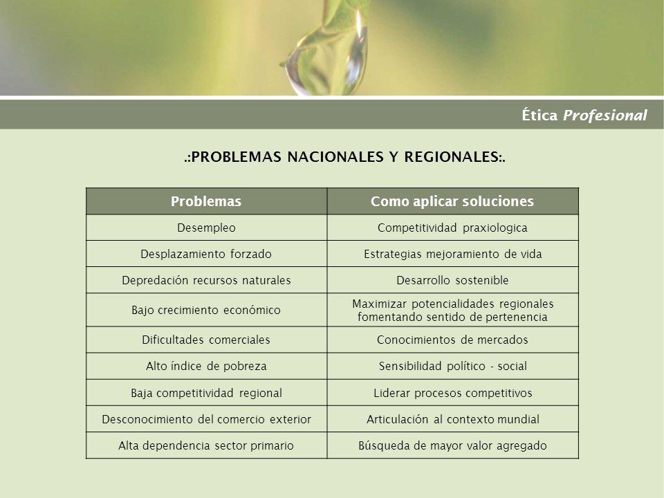 .:PROBLEMAS NACIONALES Y REGIONALES:. Como aplicar soluciones