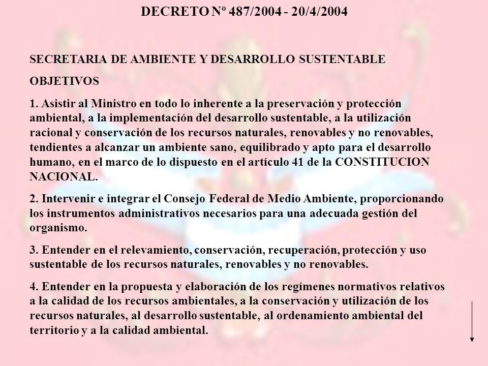 DECRETO Nº 487/2004 - 20/4/2004 SECRETARIA DE AMBIENTE Y DESARROLLO SUSTENTABLE. OBJETIVOS.