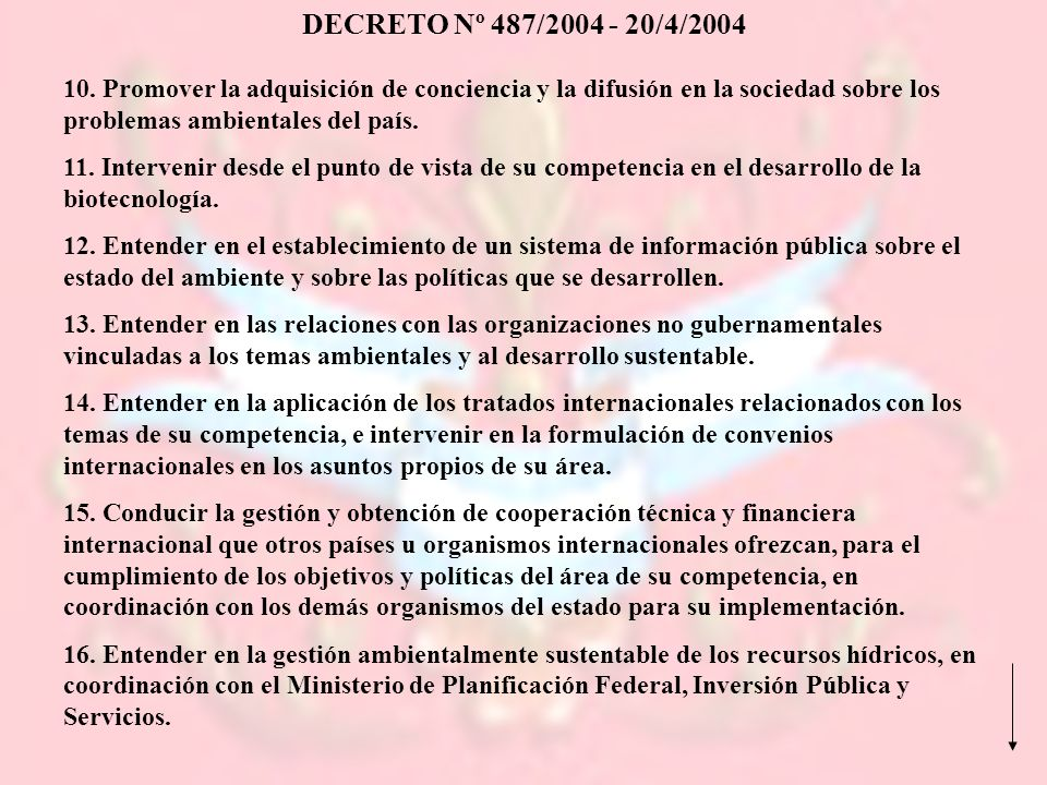 DECRETO Nº 487/2004 - 20/4/2004 10. Promover la adquisición de conciencia y la difusión en la sociedad sobre los problemas ambientales del país.