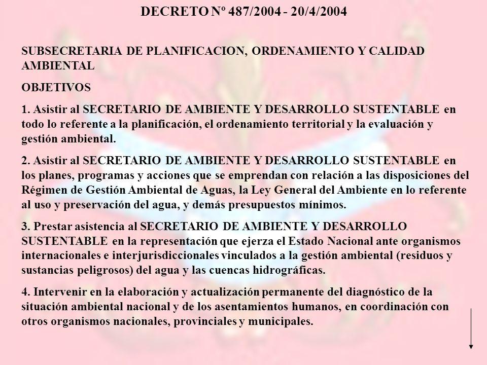 DECRETO Nº 487/2004 - 20/4/2004 SUBSECRETARIA DE PLANIFICACION, ORDENAMIENTO Y CALIDAD AMBIENTAL. OBJETIVOS.