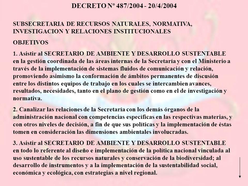 DECRETO Nº 487/2004 - 20/4/2004 SUBSECRETARIA DE RECURSOS NATURALES, NORMATIVA, INVESTIGACION Y RELACIONES INSTITUCIONALES.