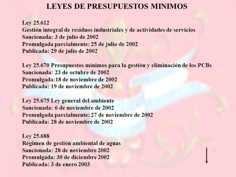 LEYES DE PRESUPUESTOS MINIMOS
