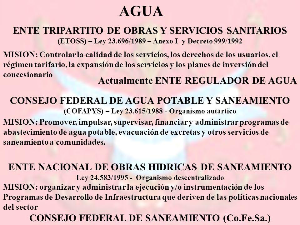 AGUA ENTE TRIPARTITO DE OBRAS Y SERVICIOS SANITARIOS (ETOSS) – Ley 23.696/1989 – Anexo I y Decreto 999/1992.
