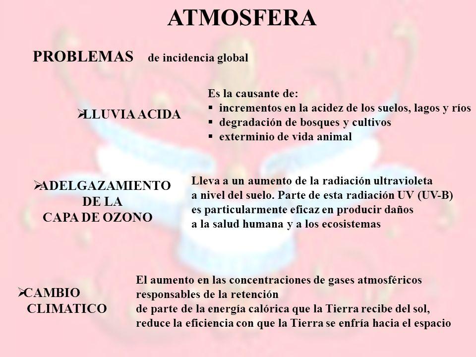 ATMOSFERA PROBLEMAS LLUVIA ACIDA ADELGAZAMIENTO DE LA CAPA DE OZONO