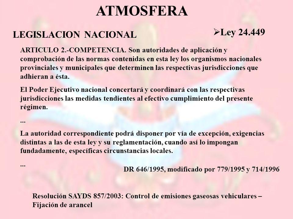 ATMOSFERA Ley 24.449 LEGISLACION NACIONAL