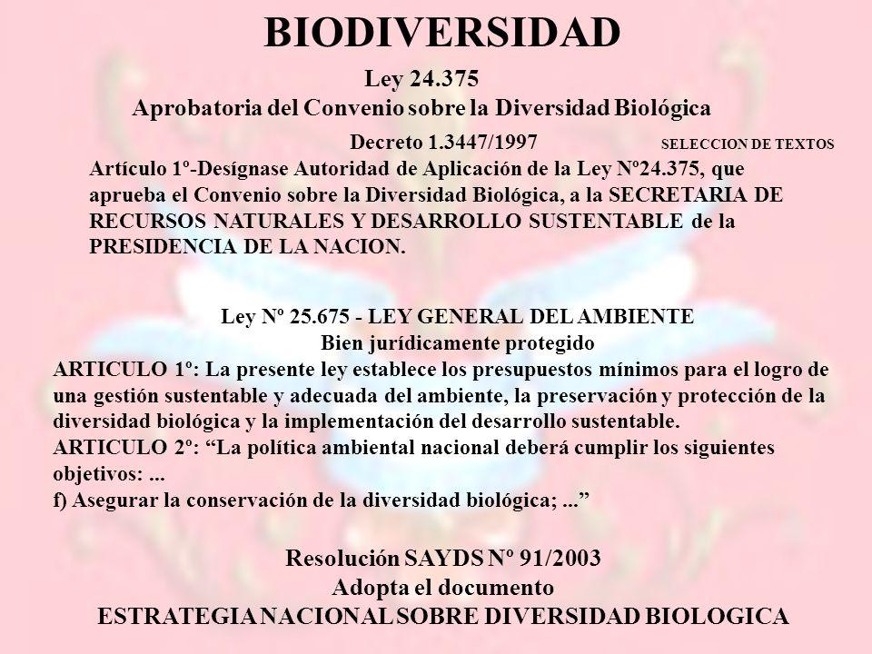 BIODIVERSIDAD Ley 24.375. Aprobatoria del Convenio sobre la Diversidad Biológica. Decreto 1.3447/1997.