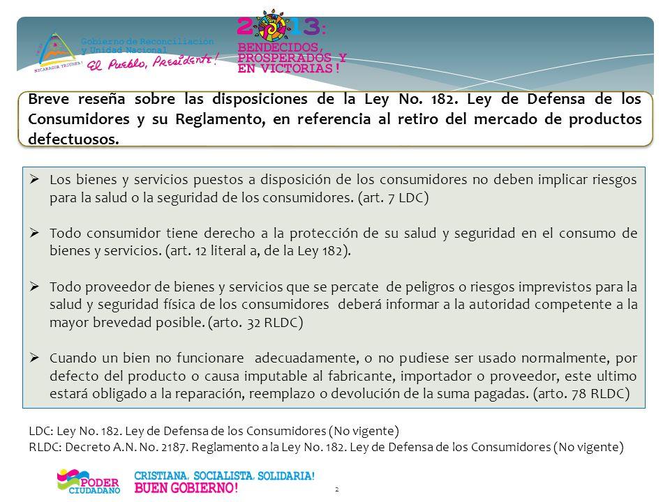 Breve reseña sobre las disposiciones de la Ley No. 182