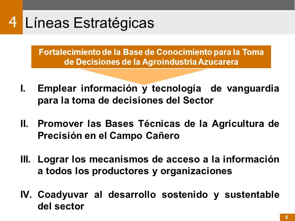 4 Líneas Estratégicas. Fortalecimiento de la Base de Conocimiento para la Toma de Decisiones de la Agroindustria Azucarera.