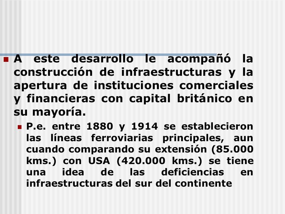 A este desarrollo le acompañó la construcción de infraestructuras y la apertura de instituciones comerciales y financieras con capital británico en su mayoría.