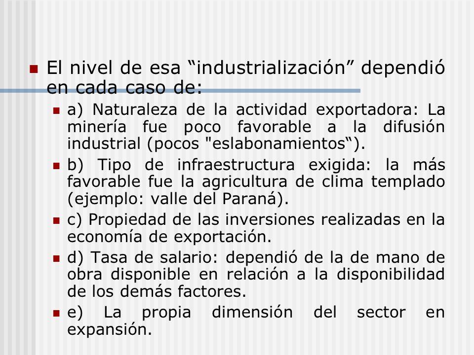 El nivel de esa industrialización dependió en cada caso de: