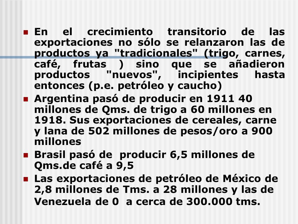 En el crecimiento transitorio de las exportaciones no sólo se relanzaron las de productos ya tradicionales (trigo, carnes, café, frutas ) sino que se añadieron productos nuevos , incipientes hasta entonces (p.e. petróleo y caucho)