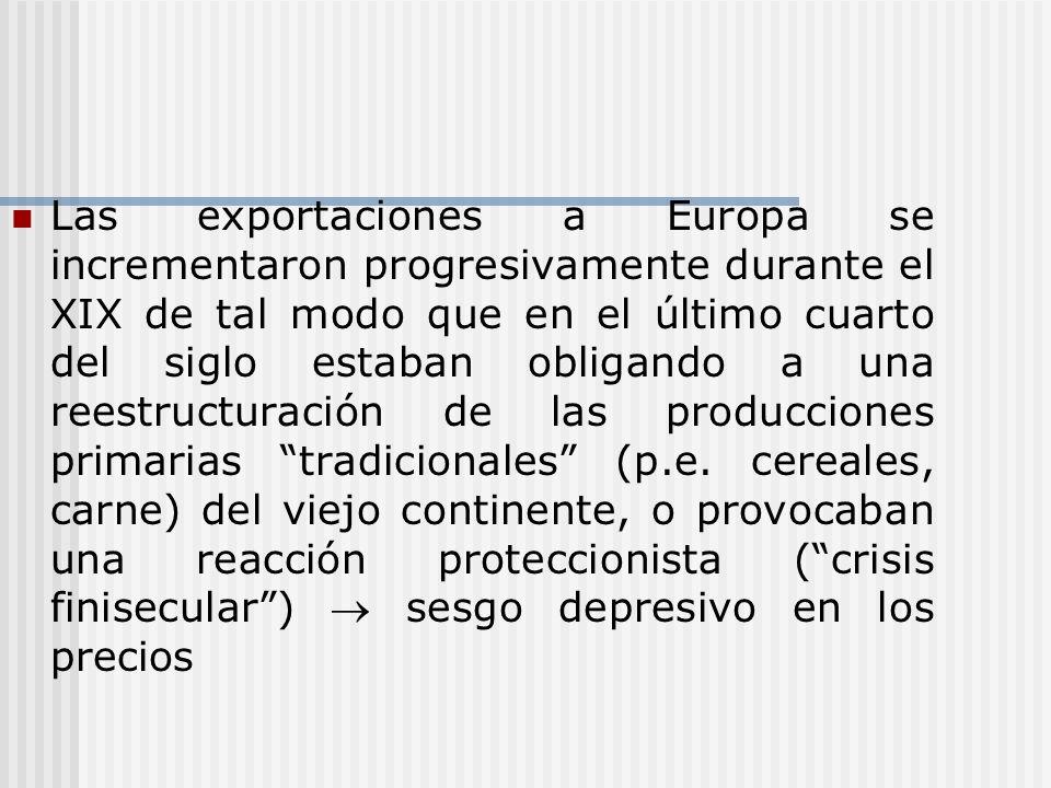 Las exportaciones a Europa se incrementaron progresivamente durante el XIX de tal modo que en el último cuarto del siglo estaban obligando a una reestructuración de las producciones primarias tradicionales (p.e.