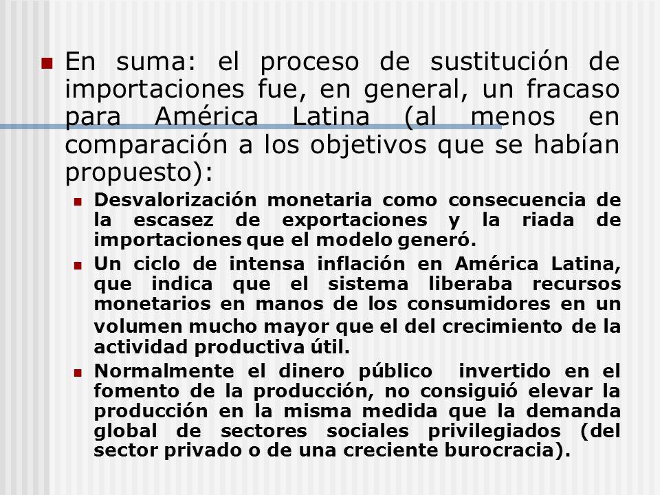 En suma: el proceso de sustitución de importaciones fue, en general, un fracaso para América Latina (al menos en comparación a los objetivos que se habían propuesto):