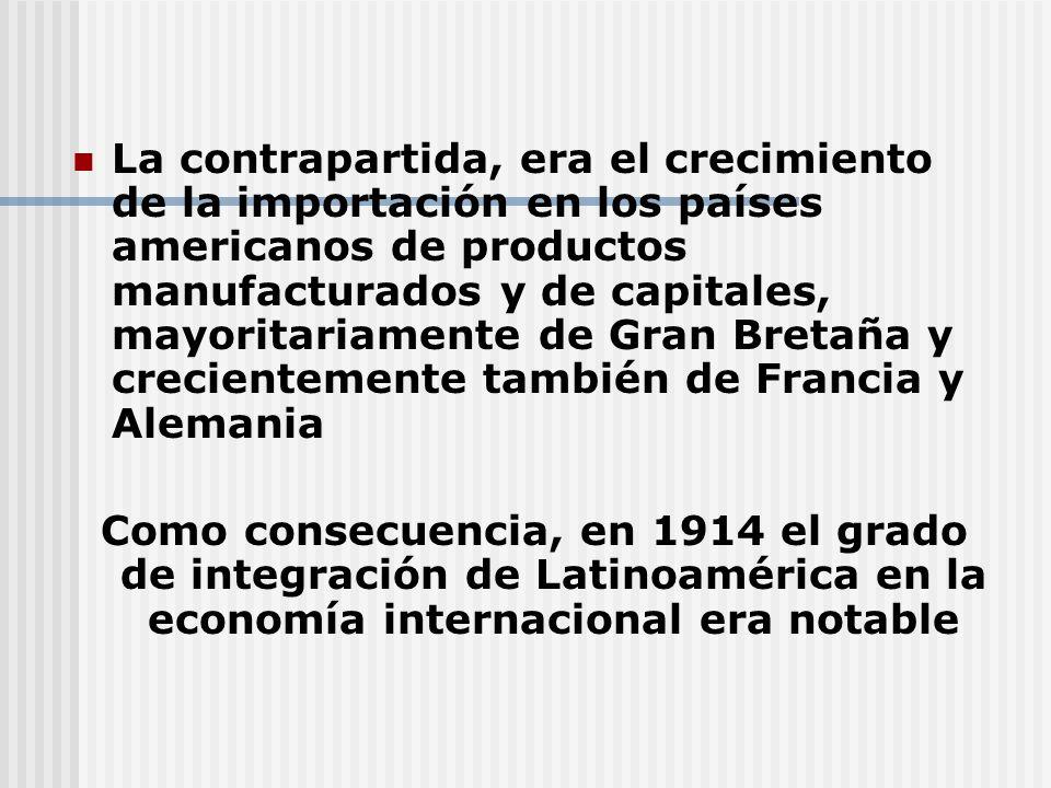 La contrapartida, era el crecimiento de la importación en los países americanos de productos manufacturados y de capitales, mayoritariamente de Gran Bretaña y crecientemente también de Francia y Alemania