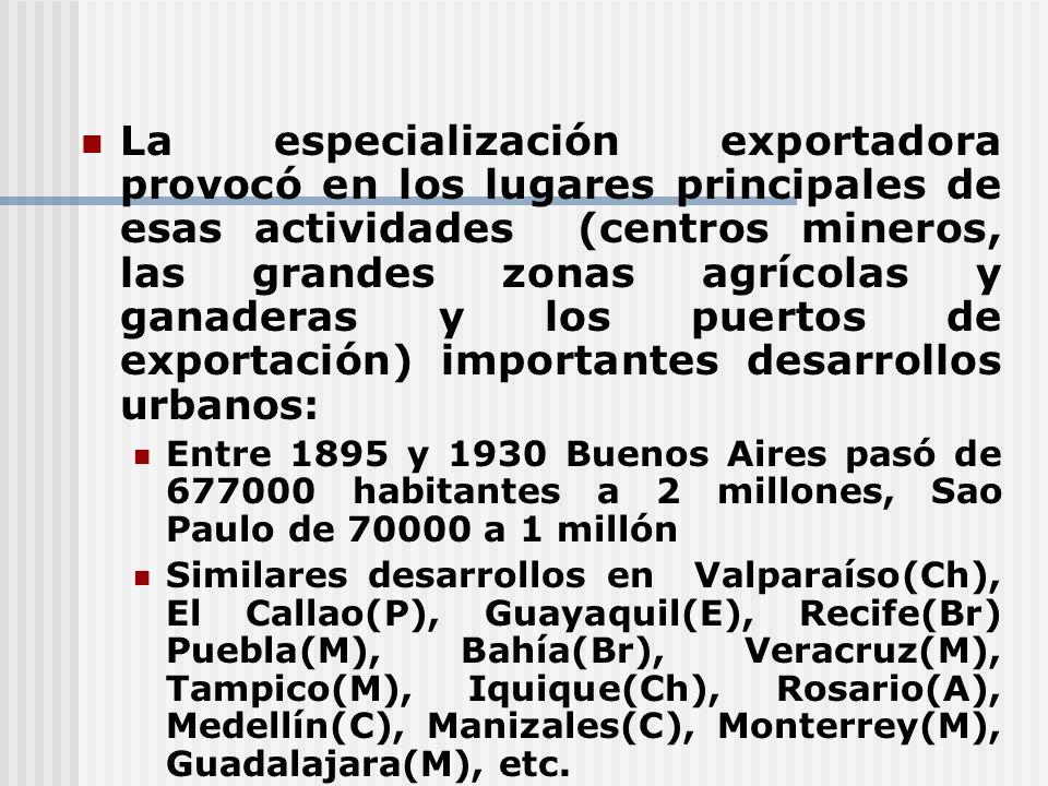 La especialización exportadora provocó en los lugares principales de esas actividades (centros mineros, las grandes zonas agrícolas y ganaderas y los puertos de exportación) importantes desarrollos urbanos: