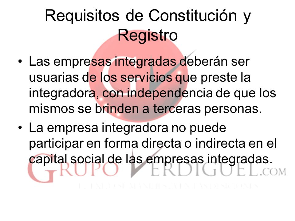 Requisitos de Constitución y Registro