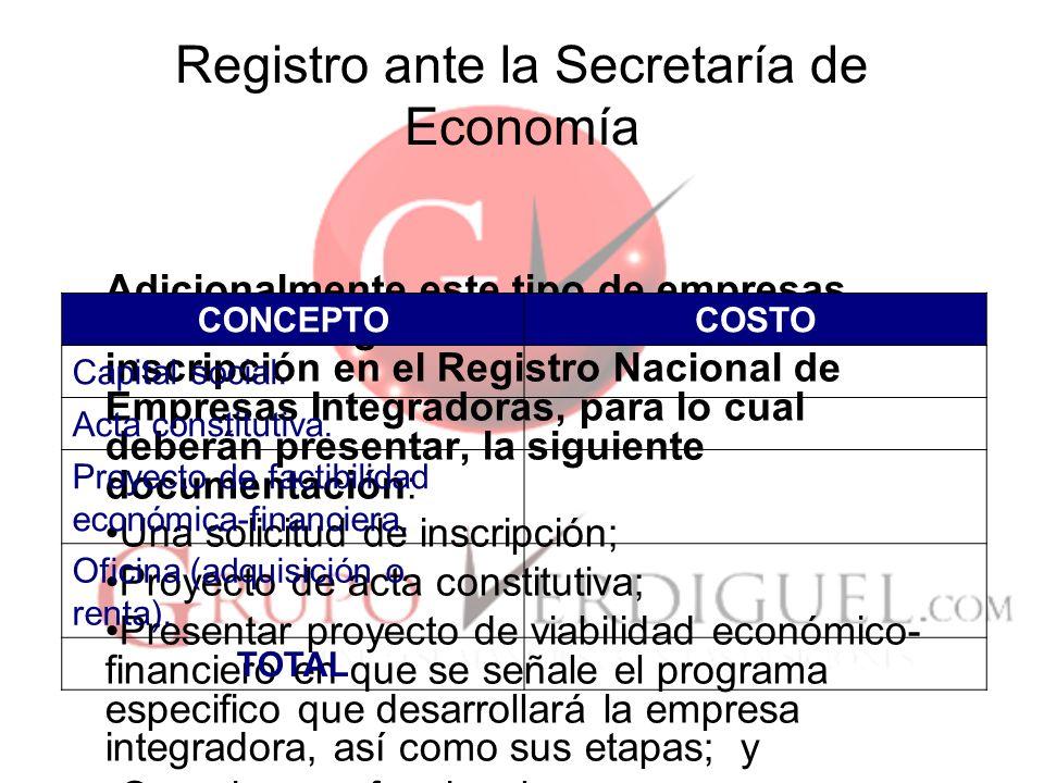 Registro ante la Secretaría de Economía