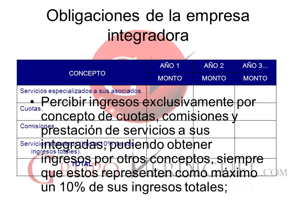 Obligaciones de la empresa integradora