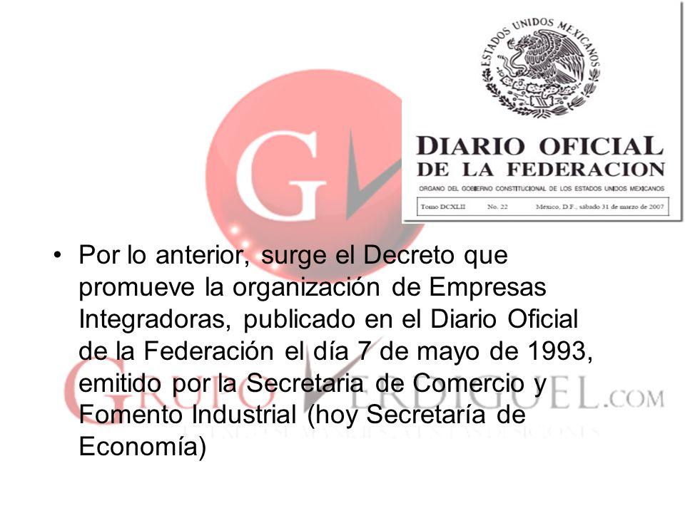 Por lo anterior, surge el Decreto que promueve la organización de Empresas Integradoras, publicado en el Diario Oficial de la Federación el día 7 de mayo de 1993, emitido por la Secretaria de Comercio y Fomento Industrial (hoy Secretaría de Economía)