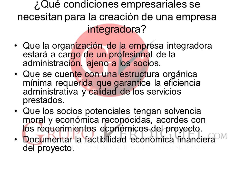 ¿Qué condiciones empresariales se necesitan para la creación de una empresa integradora