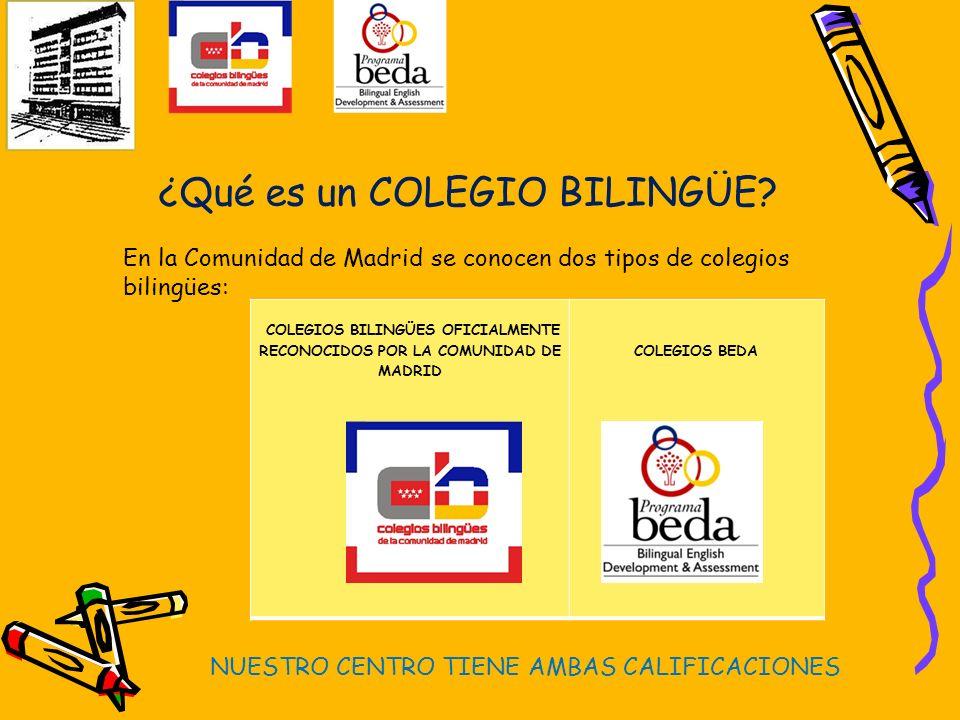 COLEGIOS BILINGÜES OFICIALMENTE RECONOCIDOS POR LA COMUNIDAD DE MADRID