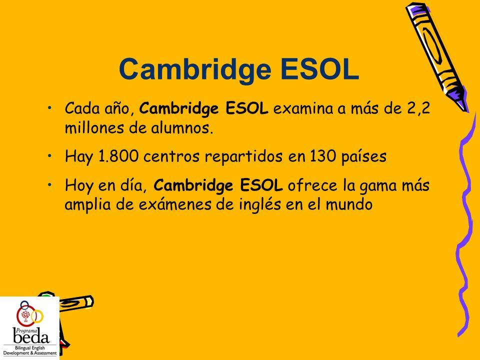 Cambridge ESOL Cada año, Cambridge ESOL examina a más de 2,2 millones de alumnos. Hay 1.800 centros repartidos en 130 países.