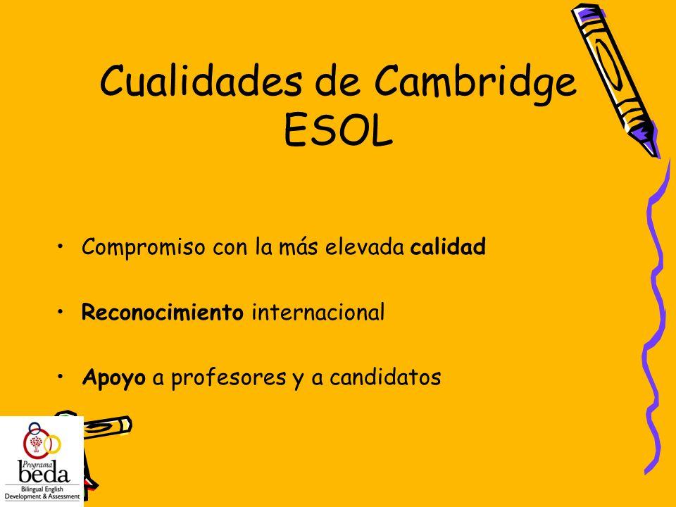 Cualidades de Cambridge ESOL