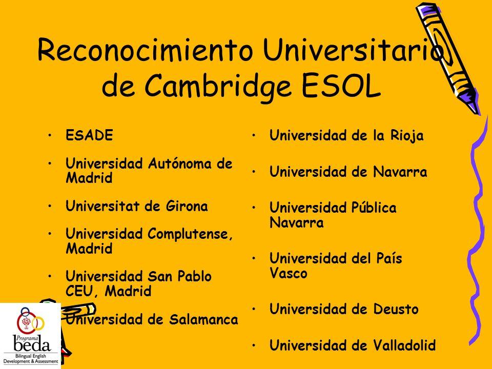 Reconocimiento Universitario de Cambridge ESOL