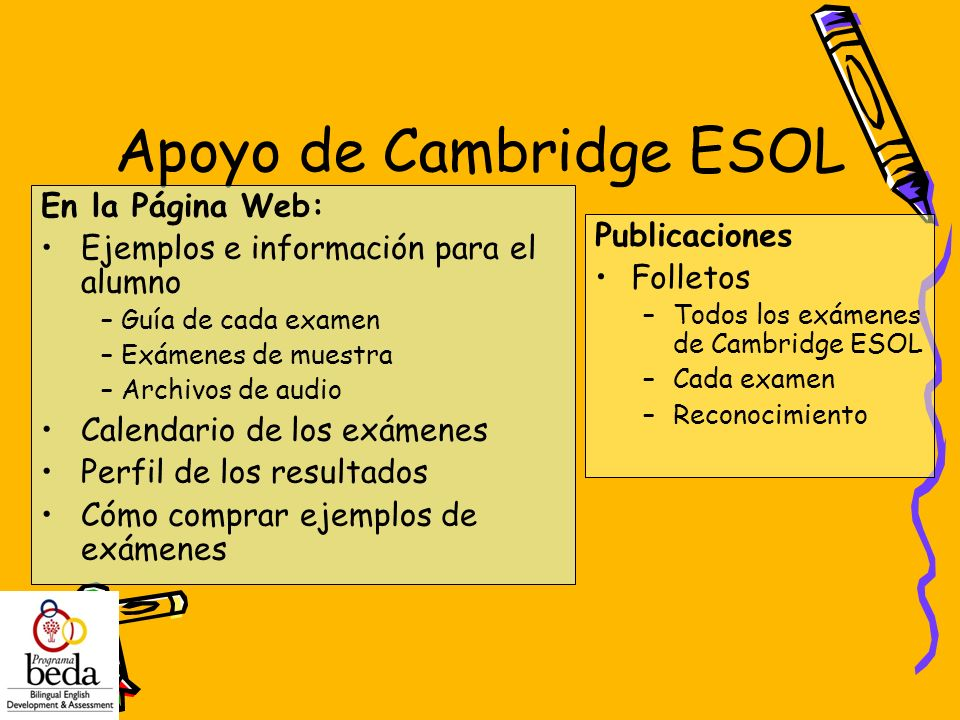 Apoyo de Cambridge ESOL