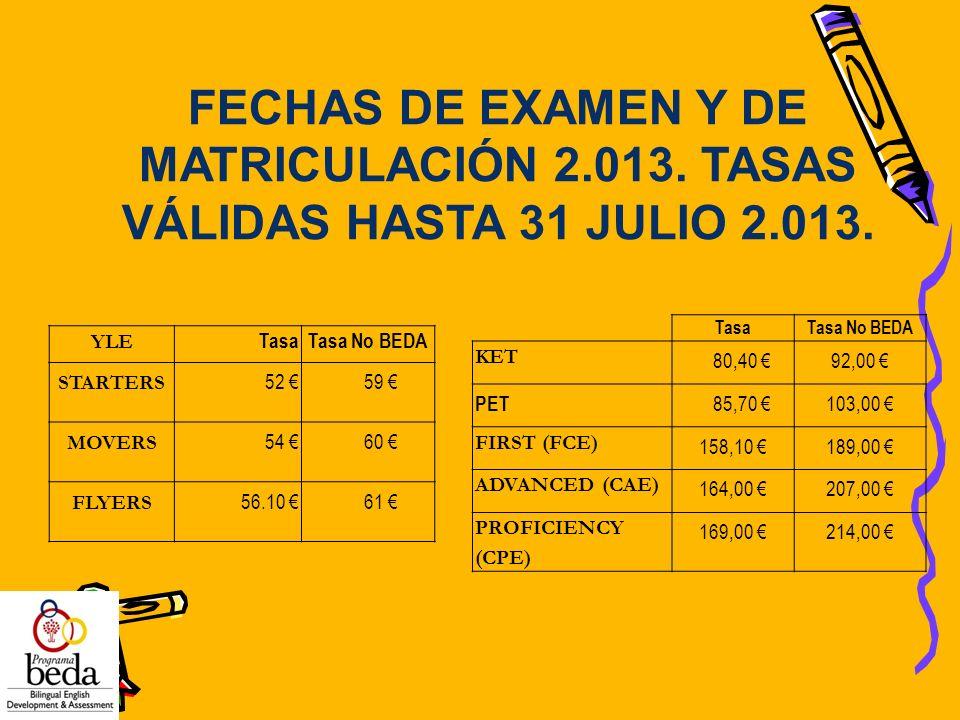 FECHAS DE EXAMEN Y DE MATRICULACIÓN 2.013. TASAS