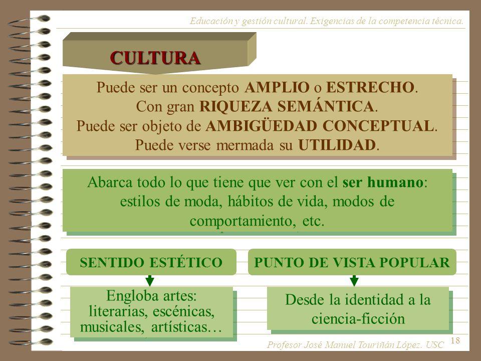 CULTURA Puede ser un concepto AMPLIO o ESTRECHO.