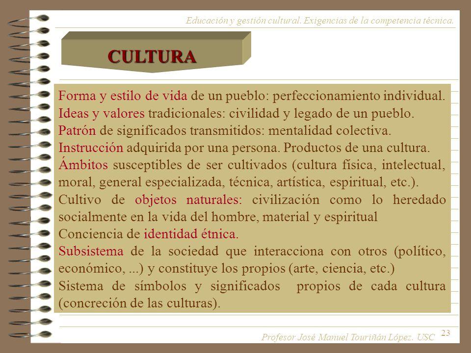 CULTURA Educación y gestión cultural. Exigencias de la competencia técnica. Forma y estilo de vida de un pueblo: perfeccionamiento individual.