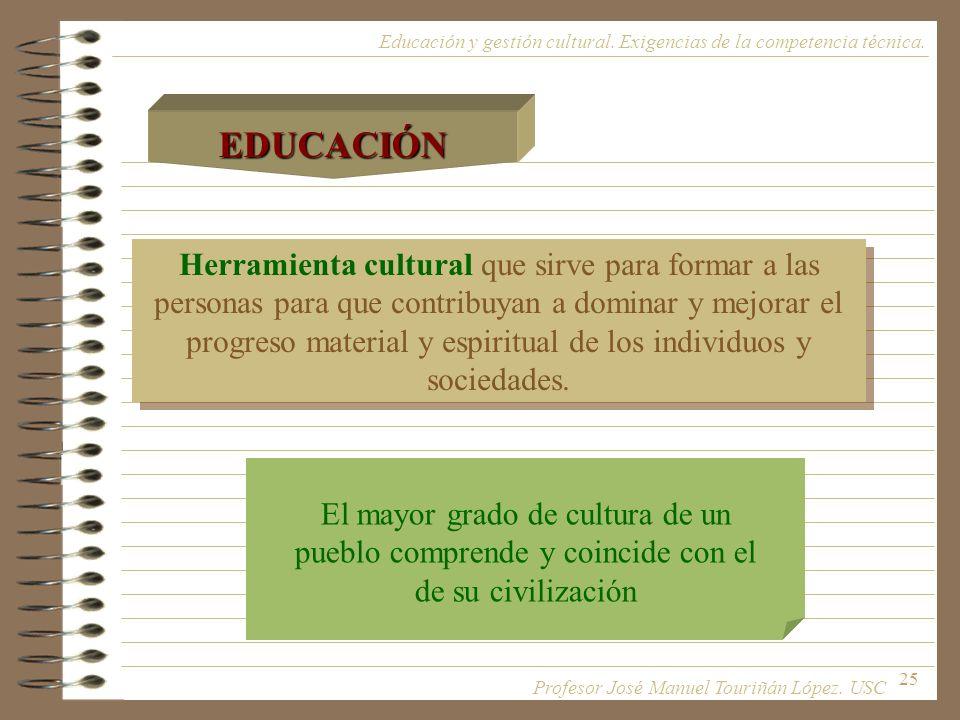 EDUCACIÓN Educación y gestión cultural. Exigencias de la competencia técnica.