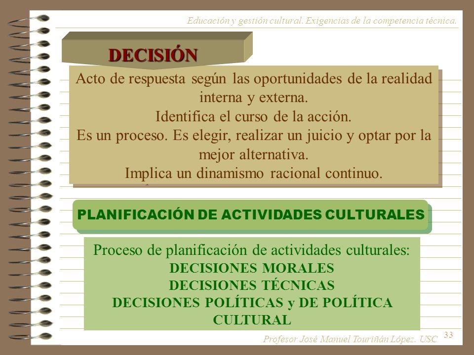 DECISIONES POLÍTICAS y DE POLÍTICA CULTURAL