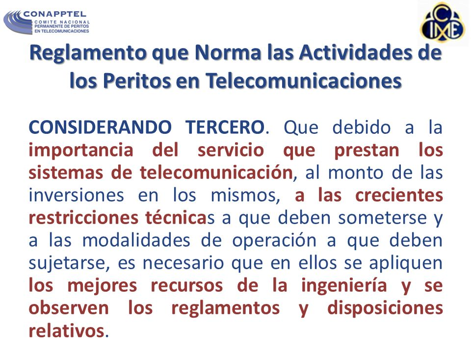 Reglamento que Norma las Actividades de los Peritos en Telecomunicaciones
